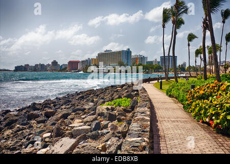 View of Hotel Building s of Condado from Puerta de Tierra, San Juan, Puerto Rico - Stock Photo