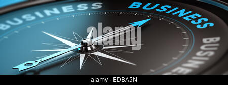 Conceptual compass with needle pointing the word business, black and blue tones. Concept background image for illustration of bu