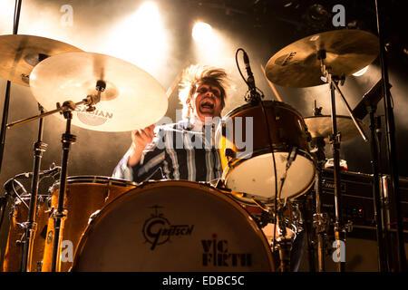Mario Goossens, drummer of the Belgian rock band Triggerfinger, live in the Schüür, Lucerne, Switzerland - Stock Photo