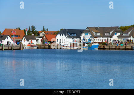 Fishing boats in the harbor of Vitte village on Hiddensee, Vitter Bodden, Baltic Sea, Rügen, Mecklenburg-Western - Stock Photo