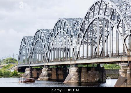 Railway bridge, Dzelzceļa tilts, over the Daugava river or Western Dvina, Riga, Latvia - Stock Photo