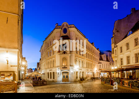 Old square or Varna trug in the old town at night, Tallinn, Estonia - Stock Photo