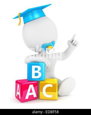 3d white people baby abc blocks, isolated white background, 3d image - Stock Photo