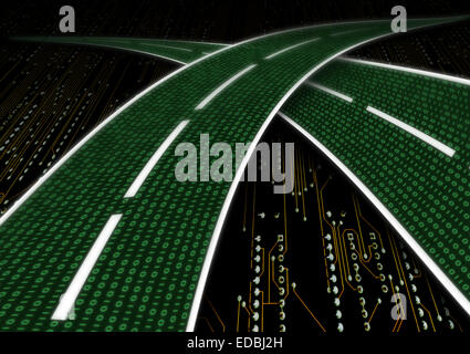 Digital highway data streaming series of digits binary code zeros number ones one as a road freeway - Stock Photo
