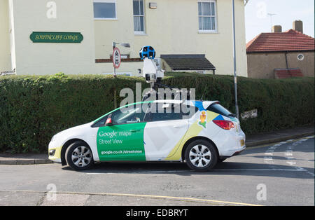 A Google street view map car completes its task in Walton-on-the-Naze, Essex - Stock Photo