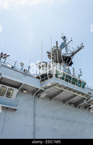 Control tower of warship in the navy dock - Stock Photo