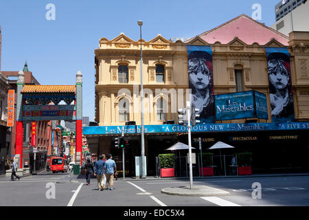 Chinatown and the Princess theatre in Melbourne, Australia - Stock Photo