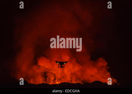 Radio controlled Drone with Camera. Eruption at Holuhraun Fissure, Bardarbunga Volcano, Iceland - Stock Photo