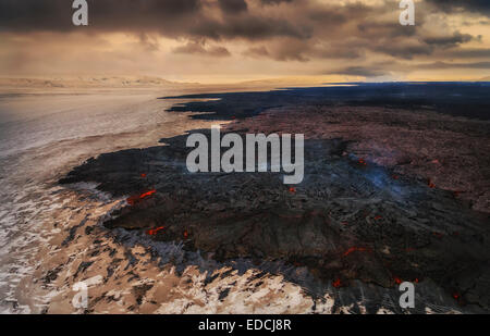 Aerial view of lava and plumes. Holuhraun, Bardarbunga Volcano, Iceland - Stock Photo