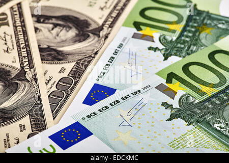 USD EUR banknotes - Stock Photo