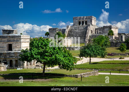 Ruins of the Mayan temple grounds at Tulum, Quintana Roo, Yucatan, Mexico - Stock Photo