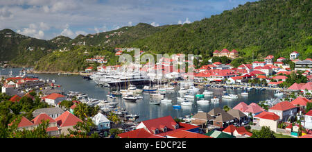 Boats crowd the marina in Gustavia, St Barths, French West Indies - Stock Photo