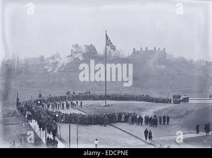 Antique circa 1915 photograph, groundbreaking ceremony for Langley Laboratory (current location of Hunt Library) - Stock Photo