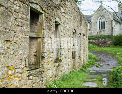 Ruined buildings in the abandoned village of Tyneham in Dorset, England, UK - Stock Photo