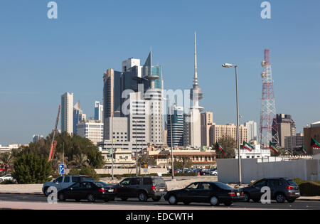 Kuwait City Skyscrapers downtown in the city - Stock Photo