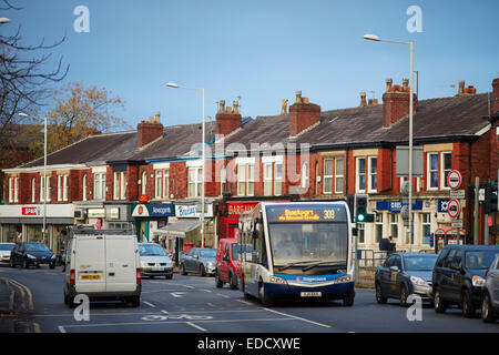 Route 309 Stagecoach single decker bus passing through Davenport village along Bramhall Lane in Stockport Cheshire. - Stock Photo