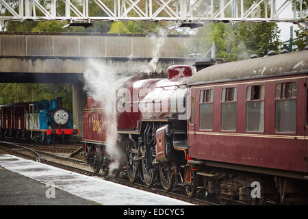 East Lancashire Railway running Thomas the Tank engine event pictured at Bolton Street Station in Bury Lancashire - Stock Photo