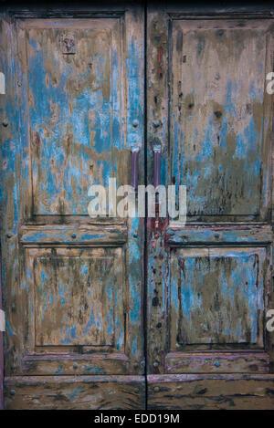 close up old wood green door - Stock Photo