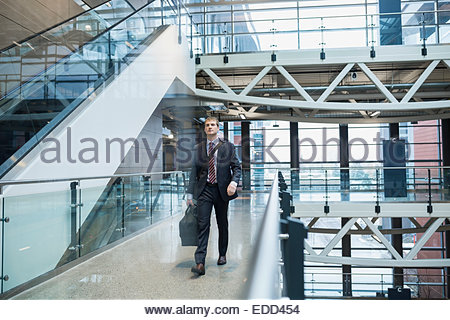 Businessman carrying bag on airport balcony - Stock Photo