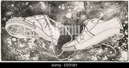 Engraving and acquaint depicting a pair of athletic shoes floating in outer-space by Todd Strand - Stock Photo