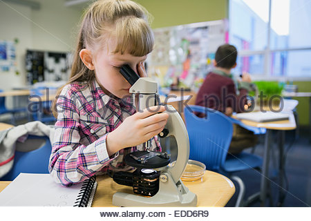 Elementary student using microscope in laboratory - Stock Photo