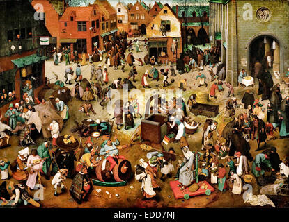 Pieter Brueghel the Elder, The Fight Between Carnival and Lent 1559 Oil on panel. Kunsthistorisches Museum, Vienna, - Stock Photo