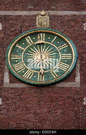 The clock on Wawel Cathedral bell tower in Krakow, Poland, dating back to 17th century. - Stock Photo