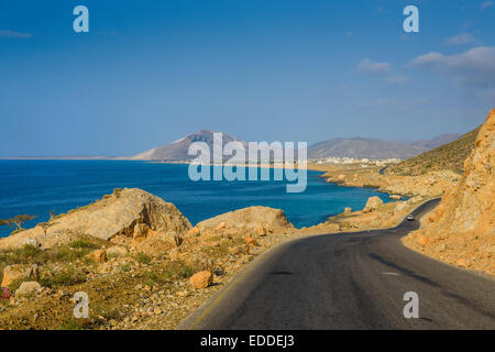 Road leading to Hadibu, island of Socotra, Yemen - Stock Photo