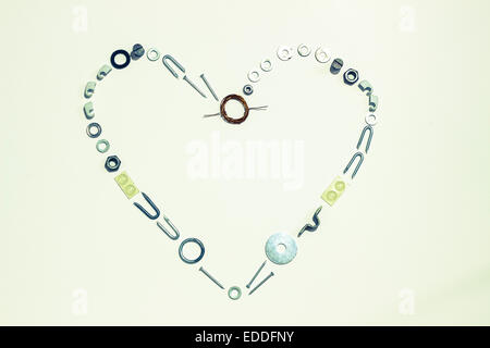 Heart shape formed with hardware - Stock Photo