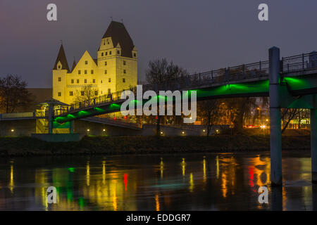 Germany, Bavaria, Ingolstadt, view to lighted New Castle at night - Stock Photo