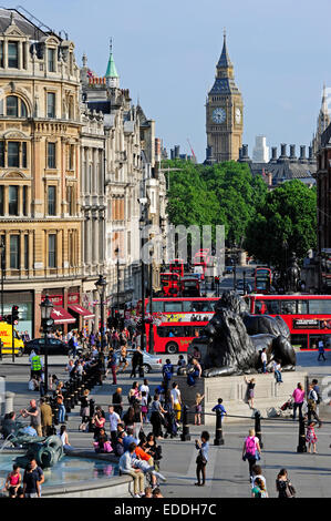 UK, London, Trafalgar Square  looking towards the Palace of Westminster with Big Ben - Stock Photo