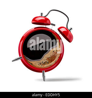 Red alarm clock with black coffee - Stock Photo