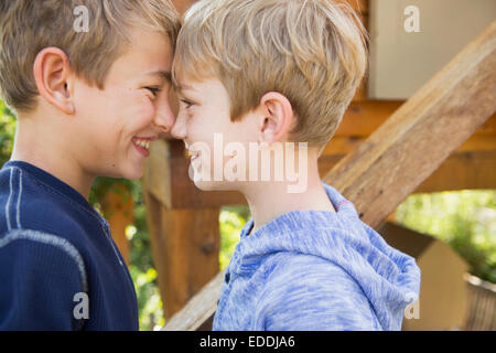 Two brothers playing in a garden, standing in front of a tree house. - Stock Photo