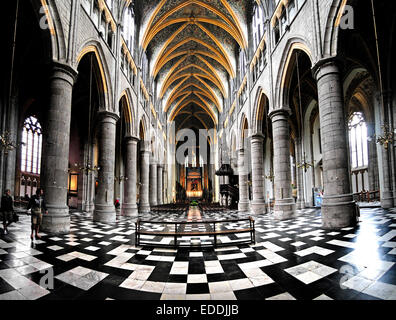Liege, Belgium. Cathedrale St Paul. Interior. - Stock Photo