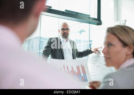 Business meeting with flip chart in conference room - Stock Photo