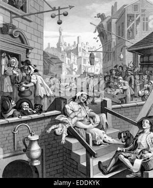 Beer Street and Gin Lane are two prints issued in 1751 by English artist William Hogarth 1697-1764 in support of - Stock Photo
