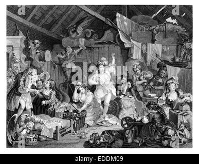 """""""Strolling Actresses Dressing in a Barn"""" Engraving from the original painting and engraving by English artist William - Stock Photo"""