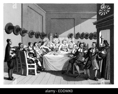 """Hudibras"" 9, 'The Committee' engraved by English artist William Hogarth 1697-1764 - Stock Photo"