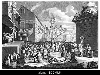 'The South Sea Scheme' engraved from the original by English artist William Hogarth 1697-1764 - Stock Photo