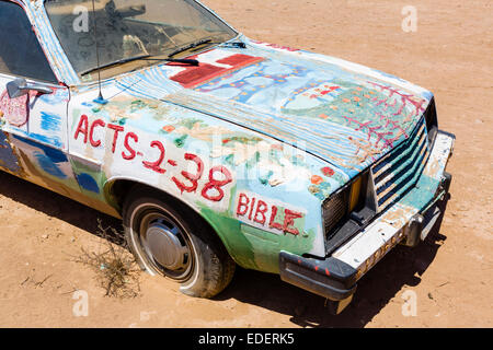 Painted car at Salvation Mountain, Leonard Knight's large scale piece of religious folk art, Niland, California, - Stock Photo