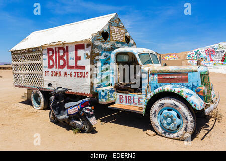 Painted truck at Salvation Mountain, Leonard Knight's large scale piece of religious folk art, Niland, California, - Stock Photo