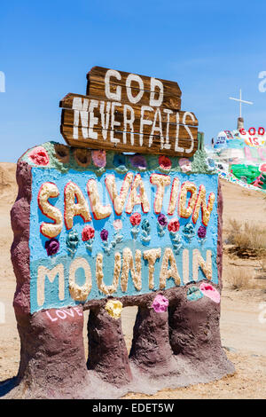 Salvation Mountain, Leonard Knight's large scale piece of religious folk art, Niland, Imperial County, California, - Stock Photo