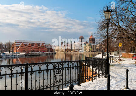 Old Town Gdansk, Poland, Port Crane, Motlawa River - Stock Photo
