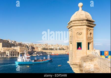Vedette watchtower and Valletta Grand Harbour Senglea Malta EU Europe - Stock Photo