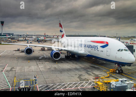 British Airways Airbus A380 at Terminal 5, Heathrow international airport, London, United Kingdom - Stock Photo