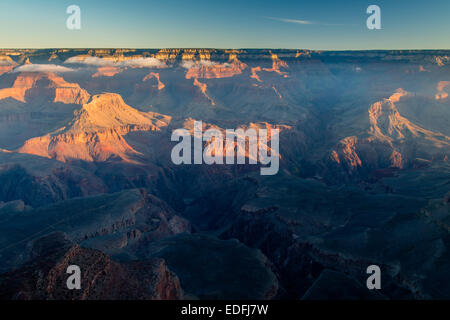 Sunrise view of south rim from Hopi Point, Grand Canyon National Park, Arizona, USA - Stock Photo