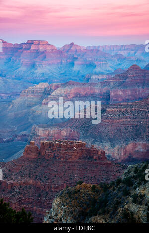 Sunset view of south rim from Hopi Point, Grand Canyon National Park, Arizona, USA - Stock Photo