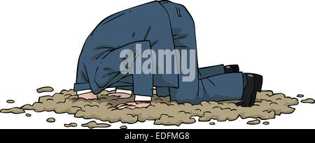The man buried his head in the sand - Stock Photo