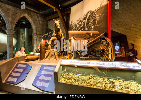 'In Flandern Fields' war museum, about World War I, in Ypres, in the 'Lakenhal' building, UNESCO world heritage - Stock Photo