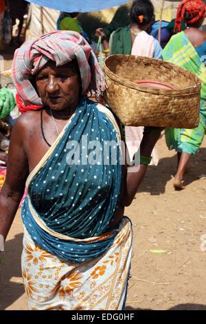 Adivasi women in Tokapal market, Chhattisgarh, Madyha Pradesh, India - Stock Photo